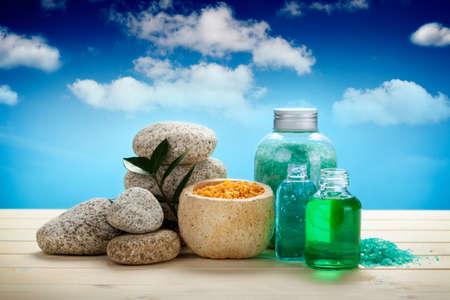Spa and aromatherapy - oils and bath salt Stock Photo - 10472276