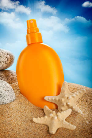 sunblock: Suntan oil Stock Photo