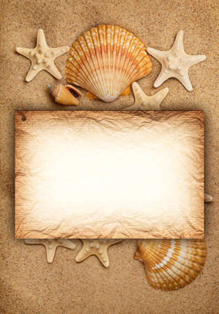 Shells, sand and blank card - summer background photo