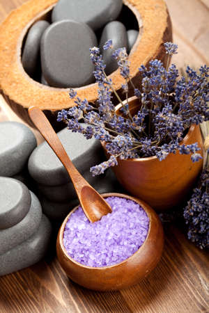 Spa treatment - body care; lavender aromatherapy photo