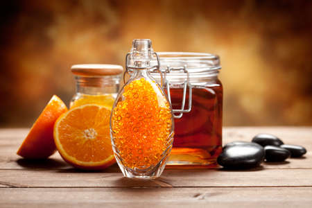 natural product: Orange and honey - Natural Spa treatment Stock Photo