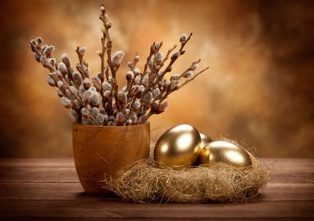 Easter - Golden eggs in the nest photo