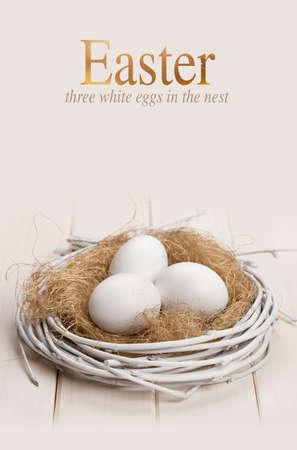 Easter white eggs in the nest
