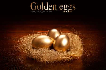 Golden eggs in the nest Stock Photo - 10528577