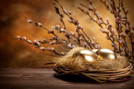 Easter eggs in the nest and catkin photo