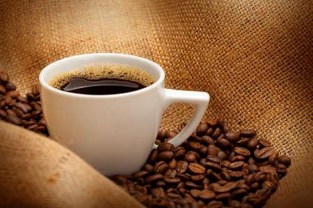 Black espresso on white cup Stock Photo