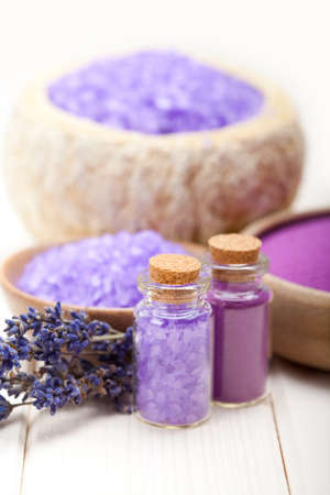 Lavender bath salt for Spa and wellnes Stock Photo