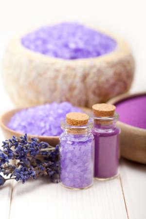 spa treatment: Lavender bath salt for Spa and wellnes Stock Photo