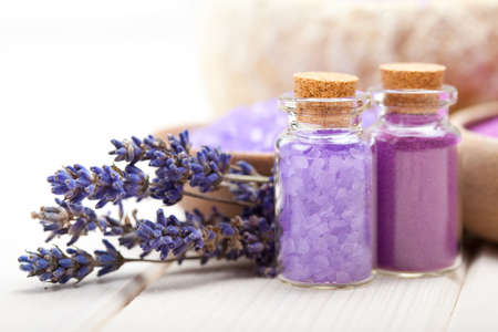Spa and wellness - Lavender minerals Stock Photo
