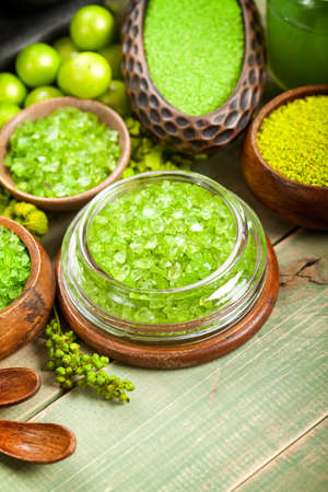 body spa: Green bath salt  Stock Photo