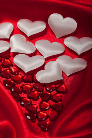 White and red hearts Stock Photo - 10544696