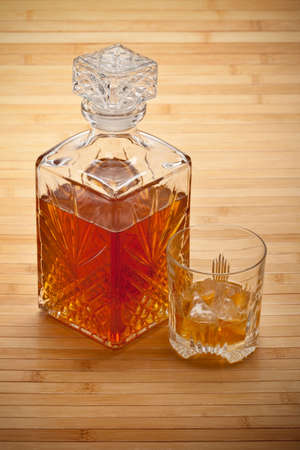 whisky bottle: Whisky decanter and drink with ice
