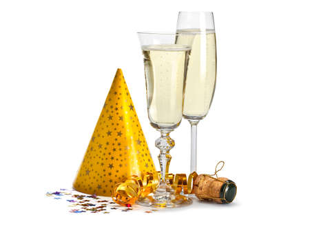 new years eve background: Happy new year - champagne and serpentine