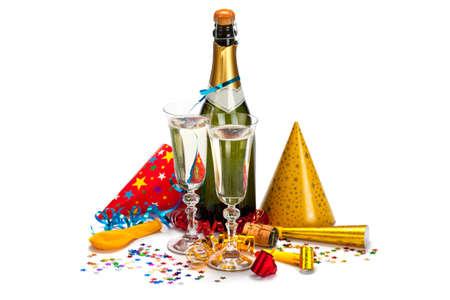 Partij - champagne, caps, confetti en wimpels Stockfoto