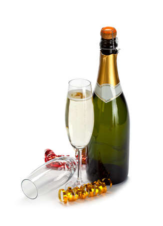 celebration champagne: Champagne - bottle and glass