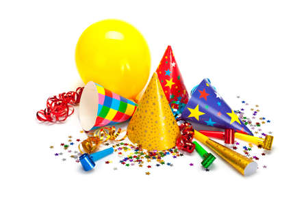 Party caps, confetti and streamers Stock Photo - 10570530