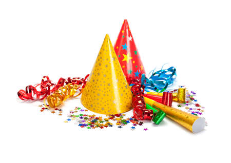 Party caps, confetti and streamers Stock Photo - 10570511