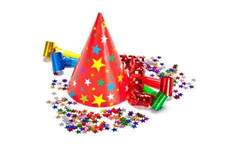 Party decoration - caps, confetti and streamers Stock Photo - 10570536