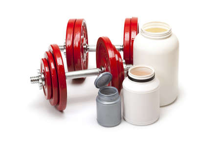 dietary supplements: Body building - dumbbells and dietary supplements