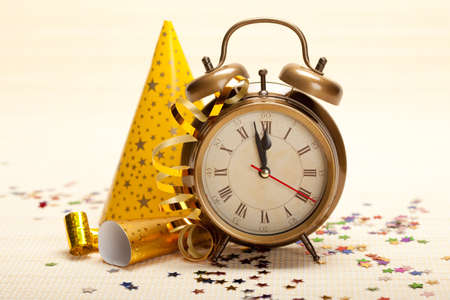 Midnight - clock face and decorations Stock Photo - 10570579