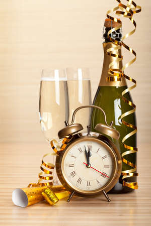Happy new year - champagne and party decoration photo
