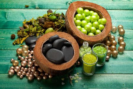 Spa minerals - massage stones and aromatherapy bath salt photo