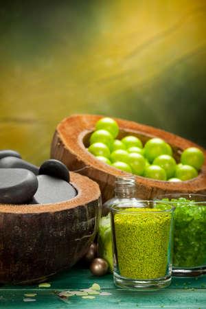 Green balls - bath salt and spa stones Stock Photo - 10570810