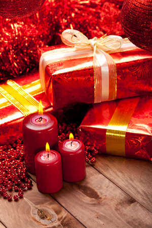 gift packs: Christmas - gifts and candles Stock Photo