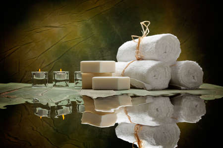 Spa supplies - soap and towels Stock Photo