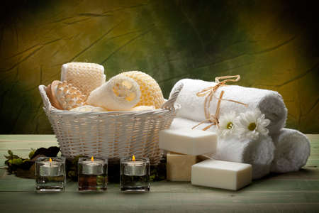 Spa - towels, soap, candles and massage tools photo