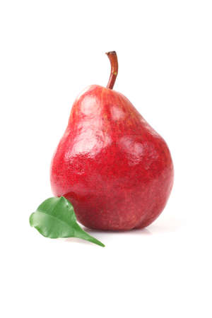 Ripe red pear and leaf on white background photo
