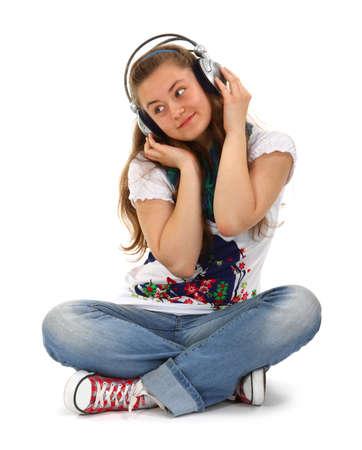 Teen enjoying music photo