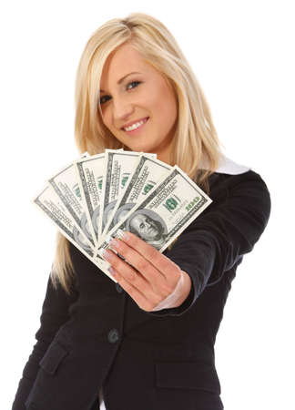 Smiling woman with money on white background photo