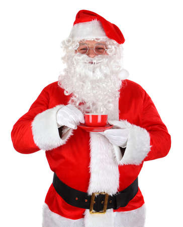 Santa Claus with coffee cup on white background