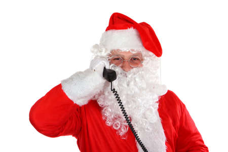 Santa calling - Santa Claus with phone on white background photo