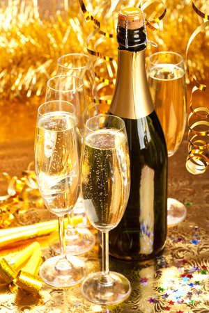 Champagne - bottle and glasses photo