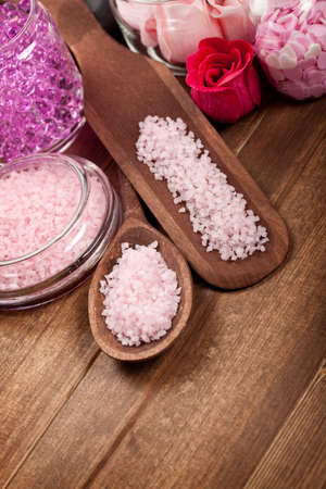 Pink bath salt for Spa and aromatherapy photo