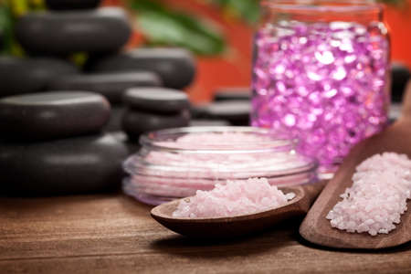 Spa treatment - pink minerals and black stones  photo