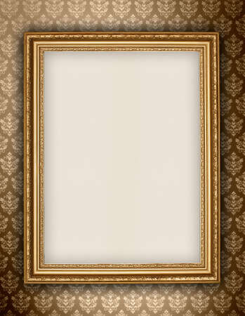Golden frame on wallpaper background photo