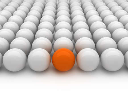 individuality: Individuality - gray and orange balls Stock Photo
