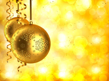Christmas background - Golden baubles Stock Photo - 11713604