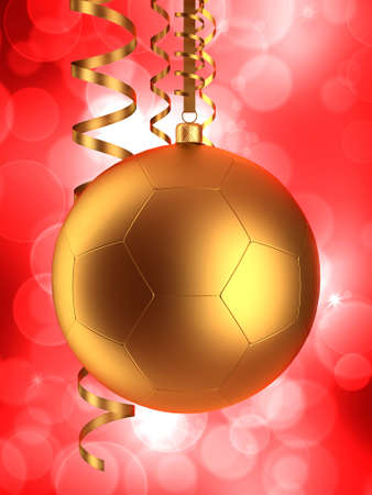 Christmas ball and serpentine on red background photo