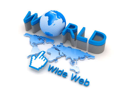 Global network - internet symbols, concept illustration