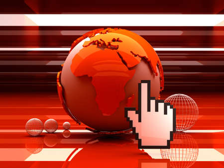 Globe and cursor hand - 3D Illustration  illustration
