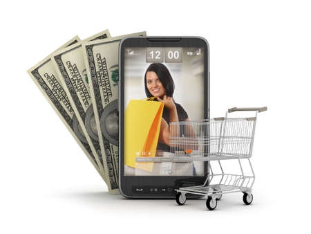 Internet shopping by cell phone - concept illustration Stock Illustration - 12251776