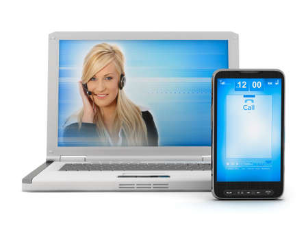 Online support - woman on laptop screen and mobile phone photo