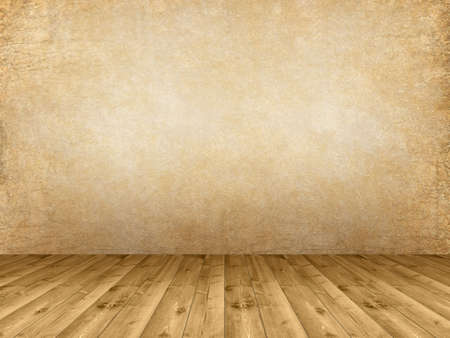 Interior background - wooden floor and grunge wall