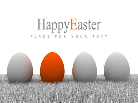 Easter eggs on gray grass and white background Stock Photo