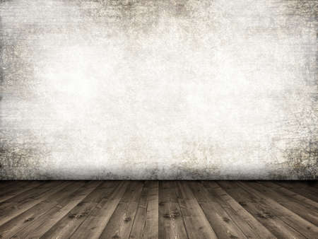 Interior background - wooden floor and grunge wall photo