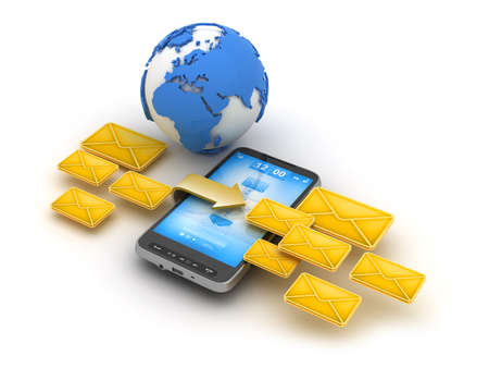 sms: Short Message Service  SMS  - mobile technology illustration Stock Photo